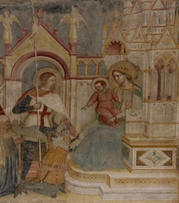 St. Georg stellt den Stifter Raimondino de' Lupi der Muttergottes vor, Fresko in San Giorgio, Padua, 1384, heutiger Zustand