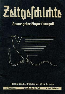 Deckblatt der Zeitschrift Zeitgeschichte mit Nietzsches Adler und Schlange, aus dem Umfeld von Ernst-Jünger-Verehrern in der SS
