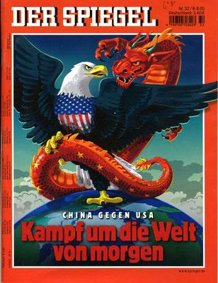 Spiegel-Ausgabe vom 8. August 2005 zum Konflikt China ( = Drachen) und USA ( = Adler)