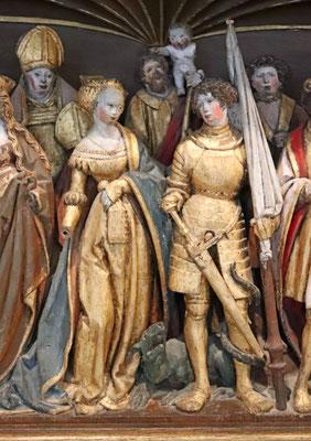 St. Georg und St. Margarete, Holzfiguren als Details eines Altars, norddeutsch, 15. Jahrhundert