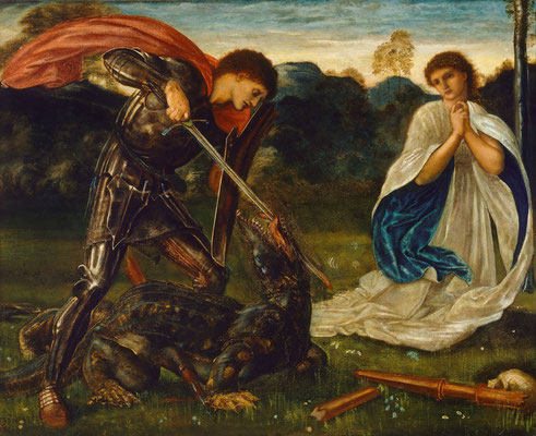 St. Georg tötet den Drachen und rettet die Jungfrau: Edward Burne-Jones, The fight: St George kills the dragon VI, 1898