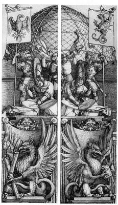 Albrecht Dürer: Ehrenpforte Maximilians mit Adler- und Drachenstandarte