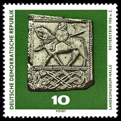 Darstellung Wodans (?) auf dem Reiterstein von Hornhausen aus dem 7. Jahrhundert; Briefmarke der DDR von 1970