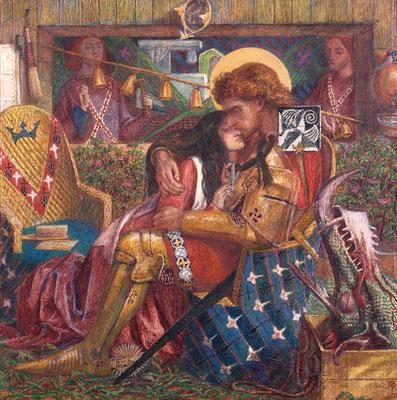 """Dante Gabriel-Rossetti: """"Die Hochzeit St. Georgs und der Prinzessin Sabra"""", 1857 (Quelle: Wikipedia)"""