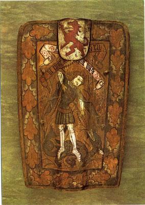 Süddeutsche Pavese mit der Darstellung des Heiligen Georgs (Ende des 15. Jahrhunderts)