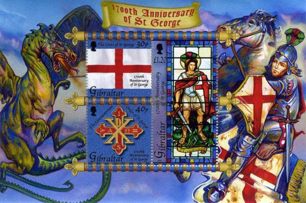 Briefmarkenblock der Post Gibraltars zum 1700. Jahrestag des Martyriums St. Georgs