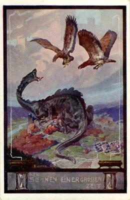 Propagandapostkarte aus dem Ersten Weltkrieg mit dem deutschen und dem österreichischen Adler, die einen dinosaurierartigen Drachen attackieren