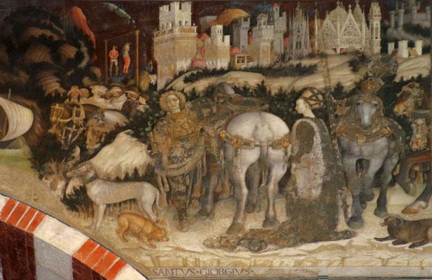Abschied St. Georgs von der Prinzessin, Fresko in Sant' Anastasia, Verona, 1437, heutiger Zustand