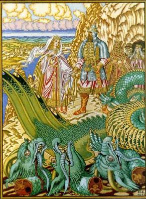 Dobryna tötet den Drachen, Buchillustration (Anfang des 20. Jahrhunderts)