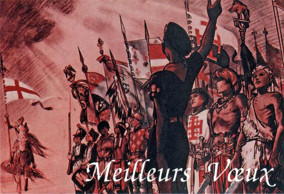 St. Georg als Schutzpatron der Pfadfinder mit der Georgsfahne, französische Grußpostkarte