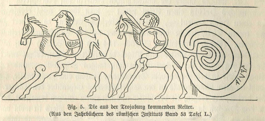 Detail der Darstellung auf dem Krug von Tagliatella, Ende des 7. Jahrhunderts vor Christus