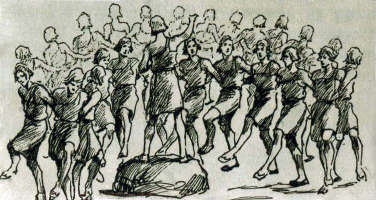 """Tanz """"Die große Schlange"""" während der germanischen Bronzezeit, Zeichnung von Wilhelm Petersen"""