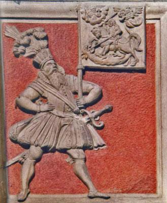"""Fahnenträger mit Georgsfahne am """"Haus zum Roten Ochsen"""" in Stein a. Rh. (17. Jahrhundert)"""