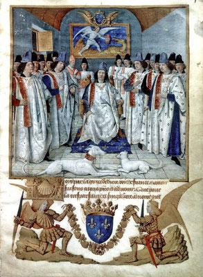 Ludwig XI. bei der Stiftung des Ordens des Heiligen Michael, Illustration von Jean Fouquet auf dem Vorsatz der für den König gedachten Ordensregel, 1470 (Quelle: Wikipedia)