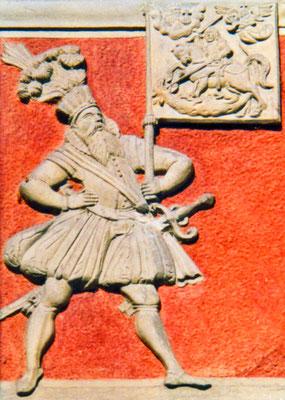 Relief mit der Darstellung eines Fahnenträgers der Stadt Stein am Rhein, Schweiz
