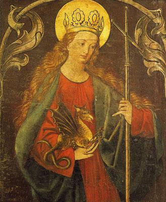 Drachenzähmen christlich I: Heilige Margarethe, Detail auf dem Mühlhausener Altar im Bamberger Dom, um 1500