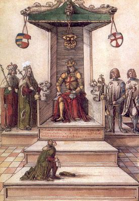 Kaiser Maximilian stiftet den Georgs-Orden, Miniatur, Anfang des 16. Jahrhunderts