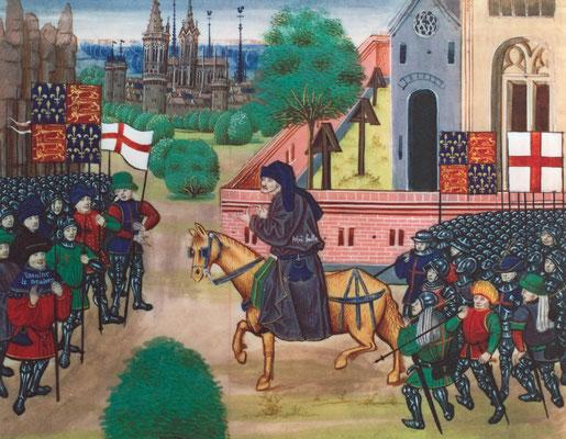 Szene aus dem englischen Bauernaufstand von 1381, zeitgenössische Buchmalerei