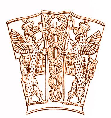 Motiv von einem sumerischen Gefäß mit Greifen und Schlangen (2. Jahrtausend vor Christus)