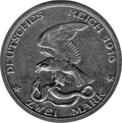 Rückseite einer Münze, die 1913 aus Anlaß des 100. Jahrestags des Beginns der Befreiungskriege geprägt wurde