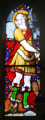 Glasmalerei, die den Hl. Michael darstellt in der Kapelle des Klosters Saint-Michel de Grandmont; erste Hälfte des 19. Jahrhunderts
