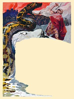 Thors Kampf gegen die Midgardschlange, Buchillustration von Emil Doepler, 1900