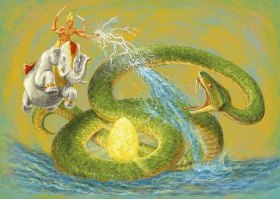 Indra tötet Vrtra (zeitgenössische Darstellung)