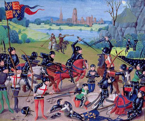 Die Schlacht bei Azincourt, 1415, zeitgenössisches Bild