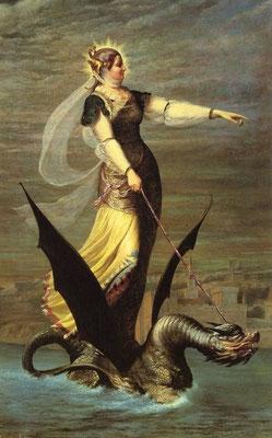 Drachenzähmen christlich III: Heilige Martha - Charles Lepec, La Tarrasque, 1874