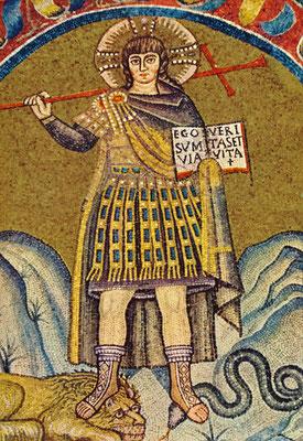 Christus als Krieger, Mosaik in der Kapelle des Erzbischöflichen Palastes, Ravenna, Übergang vom 5. zum 6. Jahrhundert, heutiger Zustand