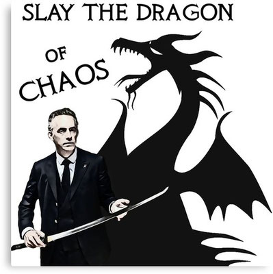 """Slay the Dragon of Chaos"": Jordan Peterson als Drachentöter. Quelle: redbubble.com"