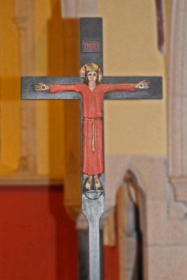 Christus als König am Kreuz, Kirche Saint-Hilary, Cornwall, 1930er Jahre, heutiger Zustand