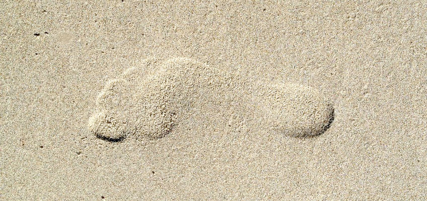 Footprint at Curracloe - Photograph - Lightfast Pigment Inks on Acid Free Paper.