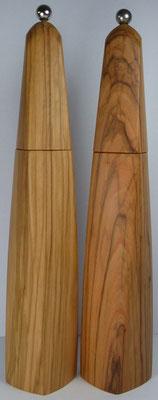 Pfeffer-Salzmühlen Paar Olivenholz, gewundene Form, ca. 34 cm hoch