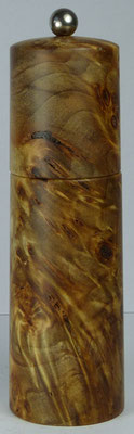 Pfeffermühle, Pappel Maser, farblos stabilisiert ca. 18,5 cm