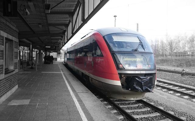 unser Zug nach der Ankunft in Zwickau