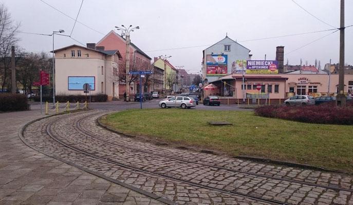 Bahnhofsvorplatz in Landsberg, die Straßenbahn fährt hier nicht mehr