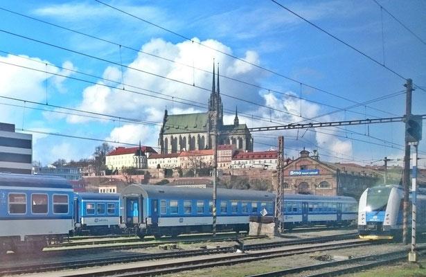 abgestellte Züge in Brünn