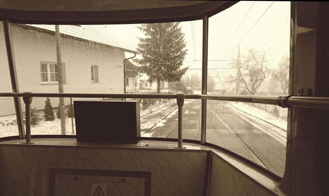 fast allein in der Bahn zur Jeschken-Talstation