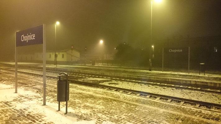 Ankunft im beginnenden Schneefall in Konitz