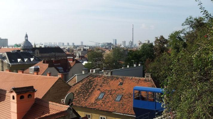 Standseilbahn und Zagreb von oben