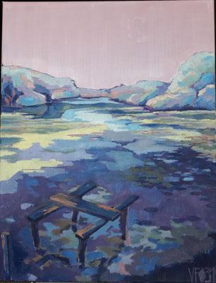 L'étang des Bois 3 _2018_ Huile 50*65 cm