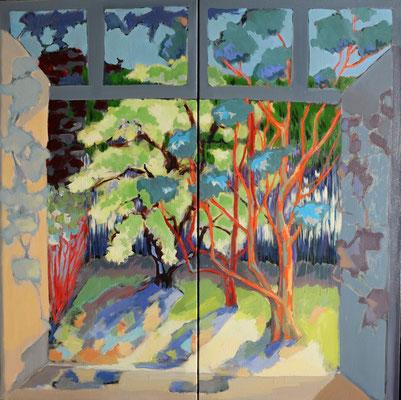 Le Jardin de Bouzy La Forêt _Dyptique_2015_ Huile 2*50*100 cm