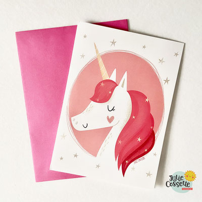Carte licorne de Julie Cossette Studio, 5$