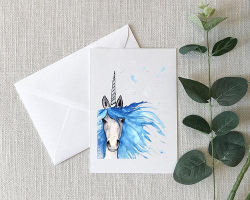 Carte aquarelle de licorne de NadzzzArt, 7$
