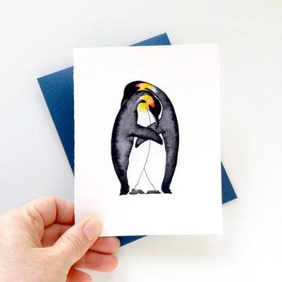Carte de pingouins amoureux
