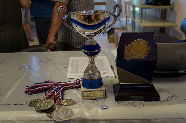 Trophées pour la première place de l'équipe masculine -13 ans Excellence