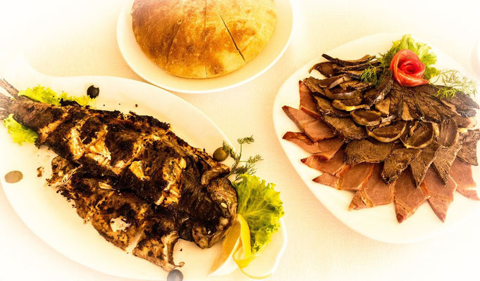 Kyrgyz meat and fish assortment