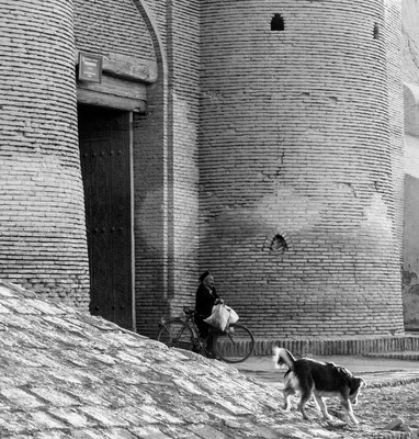 Khiva, Uzbekistan, old man and dog at Tosh gate