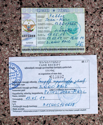 the visa is created by the foreign ministry in Stepanakert. It costs just 6 US$